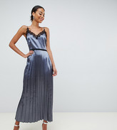 Little Mistress Tall lace trim cami dress with pleated skirt in slate