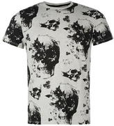 Firetrap Blackseal All Over Skull Print T Shirt Mens
