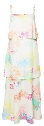 Dorothy Perkins Womens Ivory Tropical Print Sleeveless Satin Tiered Maxi Dress