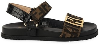 Fendi Promenade FF Flat Mixed-Media Sandals