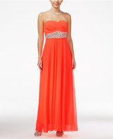 Sequin Hearts Juniors' Jeweled Empire-Waist Sweetheart Gown