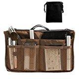 Hoxis Nylon Handbag Insert Comestic Gadget Purse Organizer (Brown)