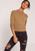 Missguided Brown Mesh Detail Crew Neck Sweater