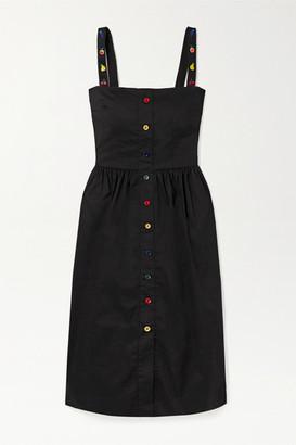 HVN Laura Embroidered Cotton-blend Poplin Midi Dress - Black