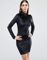 Club L High Neck Long Sleeve Dress In Crushed Velvet