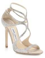 Jimmy Choo Lang Memento Strappy Crystal & Suede Sandals