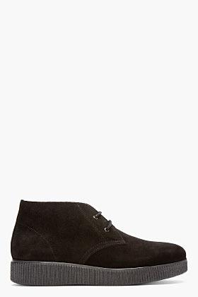 A.P.C. Black Suede Desert Boots