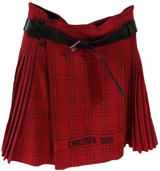 Christian Dior Red Wool Skirts
