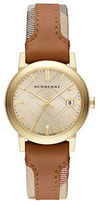 Burberry Ladies The City Watch with Leather and Haymarket Strap