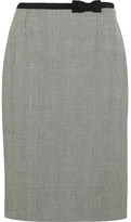 Prada Grosgrain-trimmed Plaid Wool Skirt - Gray