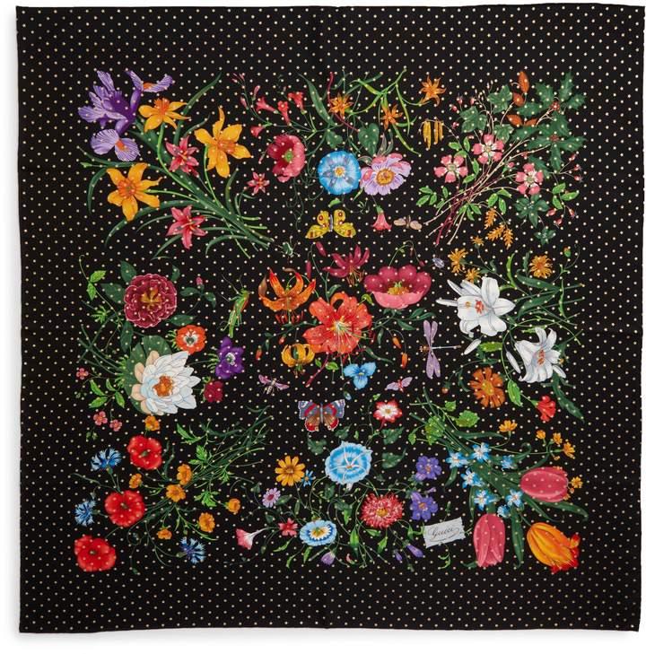 Gucci Floral Stars Square Silk Scarf