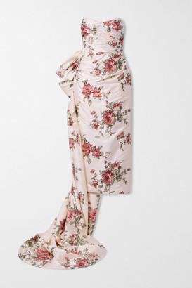 Marchesa Strapless Draped Embroidered Silk-taffeta Gown - Ecru