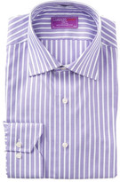 Lorenzo Uomo Striped Trim Fit Dress Shirt