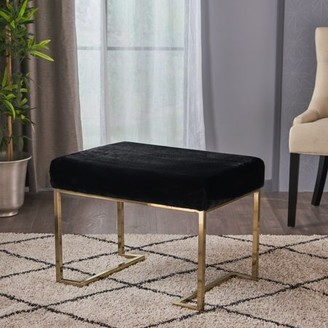 Noble House Glam Furry Bench with Gold Metal Legs,Black