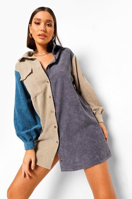 boohoo Colour Block Cord Shirt Dress