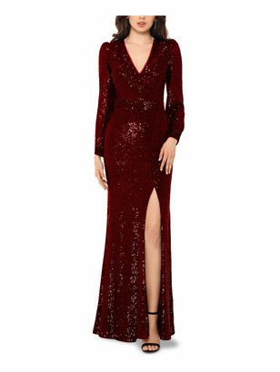 Xscape Evenings Womens Maroon Slitted Long Sleeve V Neck Full-Length Body Con Formal Dress Petites UK Size:16