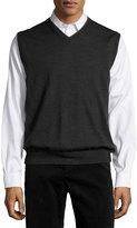 Neiman Marcus Tipped V-Neck Pullover Vest, Gray