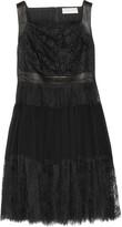 Emilio Pucci Leather-paneled lace mini dress