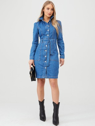Very Belted Denim Midi Dress - Mid Wash