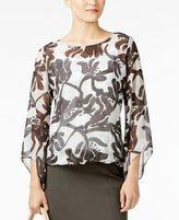 Alfani Printed Wide-Sleeve Bubble-Hem Top, Created for Macy's