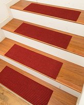NaturalAreaRugs Halton Carpet Stair Treads Rug (Set of 13), 9-inch x 29-inch, Red