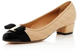 Salvatore Ferragamo Vara Quilted Leather Low Heel Pumps