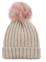 Jocelyn Pink Shearling Lamb Pom Hat