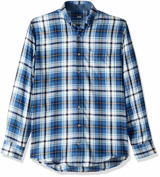 Izod Men's Big Stratton Long Sleeve Button Down Plaid Flannel Shirt