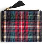 J.Crew Small Stewart Plaid Italian Leather Zip Wallet - Black
