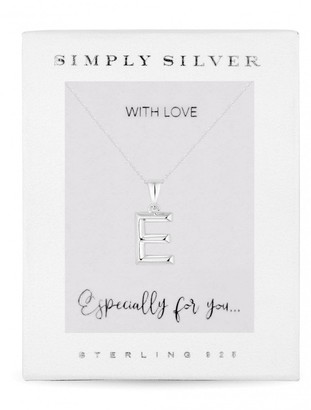 Simply Silver Sterling Silver 925 Polished Alphabet E Pendant