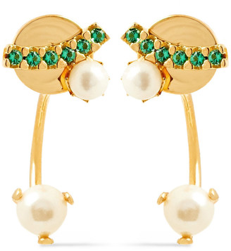 Cornelia Webb 24-karat Gold-plated, Freshwater Pearl And Siamite Earrings
