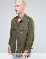 Reclaimed Vintage Military Overshirt With Butterfly Patches