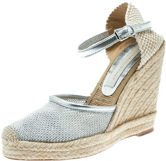 Stella McCartney Metallic Silver Fabric and Faux Leather Espadrille Wedge Sandals Size 36