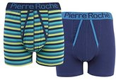 Mens Pierre Roche 2 Pack A Front Boxer Shorts Underwear