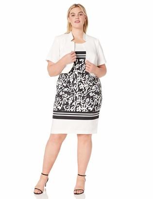 Maya Brooke Women's Plus Size Floral Print Bordered Jacket Dress