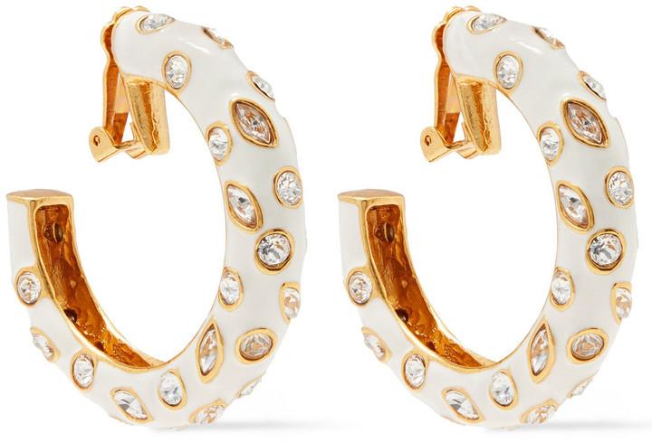 Oscar de la Renta Gold-tone, Crystal And Enamel Clip Earrings
