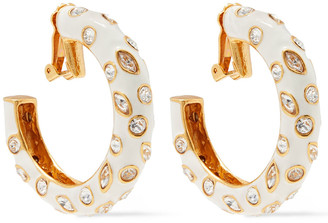 Oscar de la Renta Gold-tone, Crystal And Enamel Clip Earrings