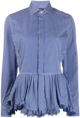 Polo Ralph Lauren Ruffled Hem Striped Shirt