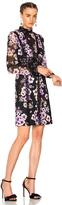 Giambattista Valli Printed Mini Dress in Black,Floral,Purple.