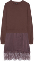 Clu Lace-trimmed Cotton-jersey And Washed-silk Dress - Plum