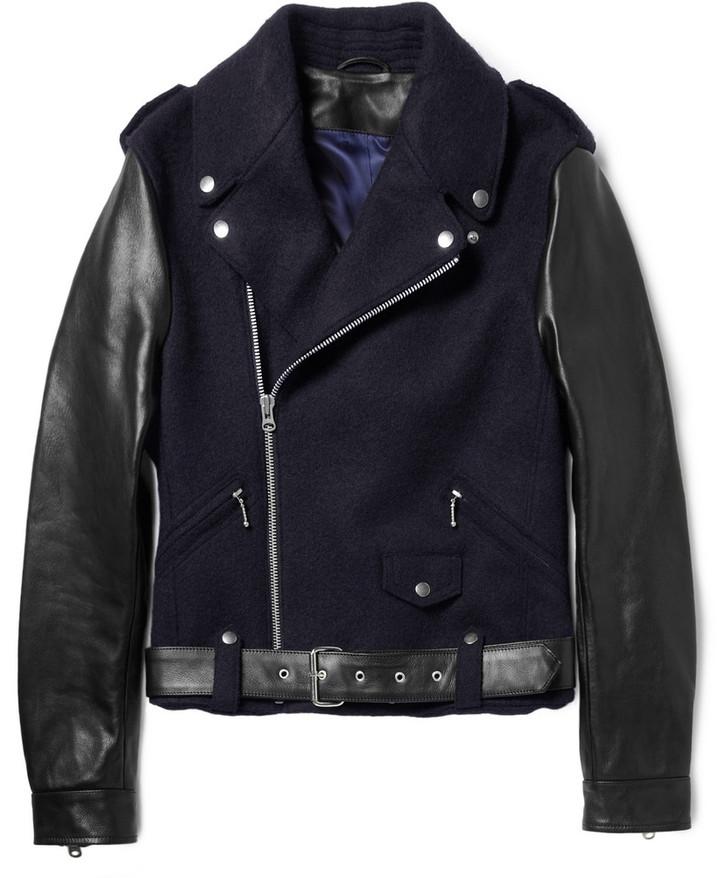 Acne Cassady Leather-Sleeved Wool Biker Jacket