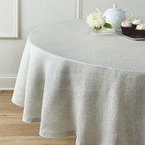 "Crate & Barrel Aurora Linen 90"" Round Tablecloth"
