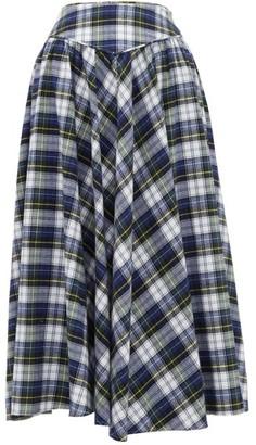 Batsheva Checked Cotton Skirt - Womens - Blue Multi