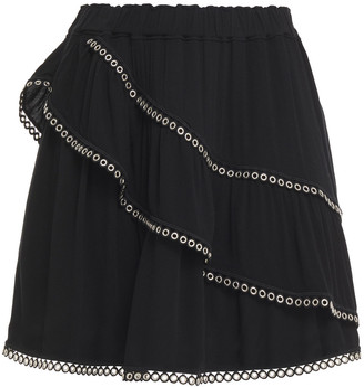 IRO Nisia Eyelet-embellished Layered Crepe Mini Skirt