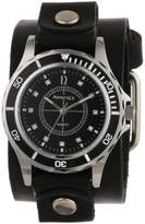 Nemesis Women's GB092K Black Collection Stone Encrusted Leather Band Watch