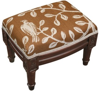 Copper Grove Castletown Caramel Upholstered Wood Footstool with Vine Accents