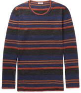 Lanvin Striped Slub Wool And Alpaca-blend Sweater - Blue