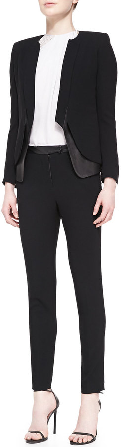 Halston Leather-Waist Slim Crepe Pants