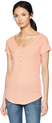 William Rast Women's Geneva Reglan Sleeve Henley Top