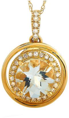 Non Branded Lb Exclusive 14K 0.13 Ct. Tw. Diamond & Topaz Necklace